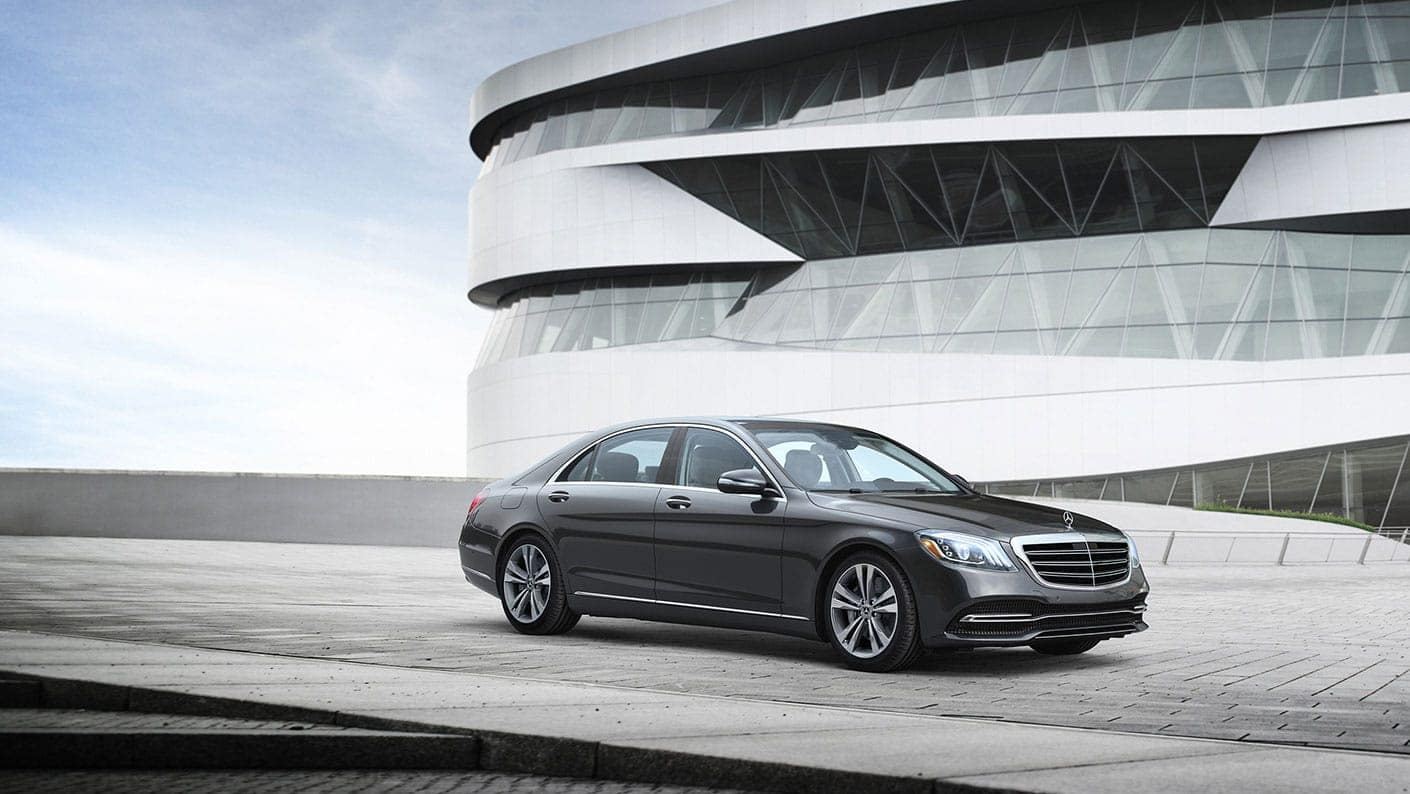 Grey 2020 Mercedes-Benz S Class parked in front of a building. Available now at Keyes European of Van Nuys