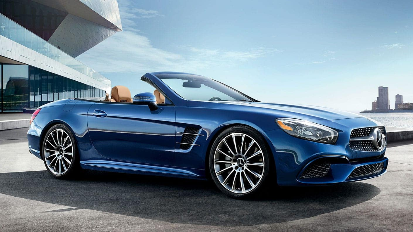 blue 2020 mercedes-benz sl roadster parked outside home near Keyes European Mercedes-Benz of Van Nuys
