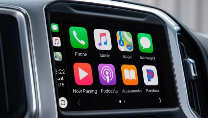 Touchscreen display inside the 2019 Chevrolet Silverado 1500 equipped with Apple CarPlay