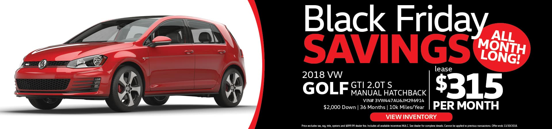 VW Golf Black Friday Special