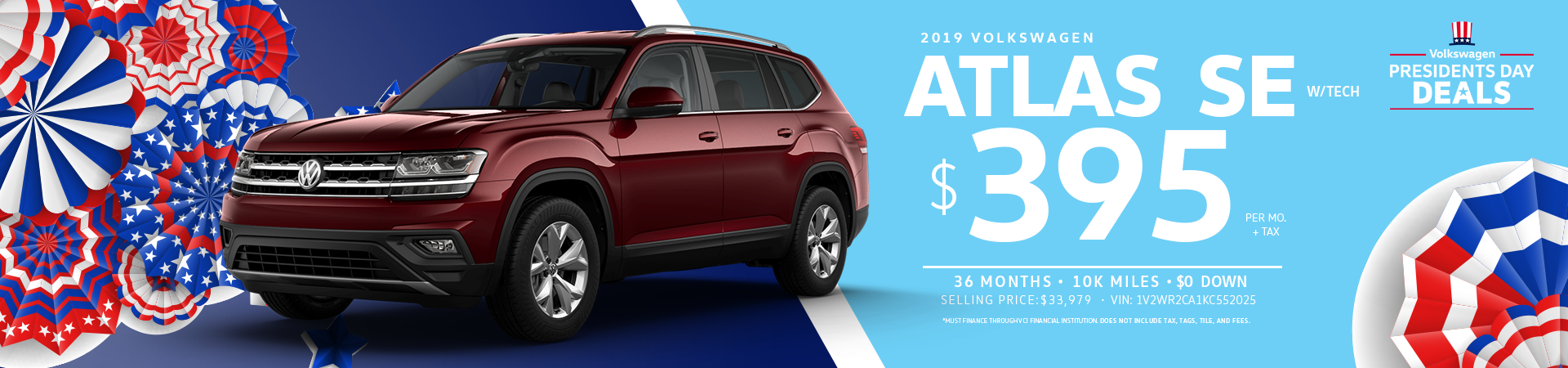 Lease a 2019 Volkswagen Atlas SE for $395 a month
