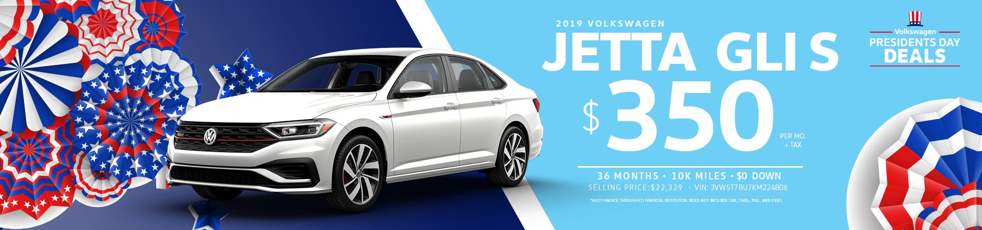 Lease a 2019 Jetta  GLI for $350 a month