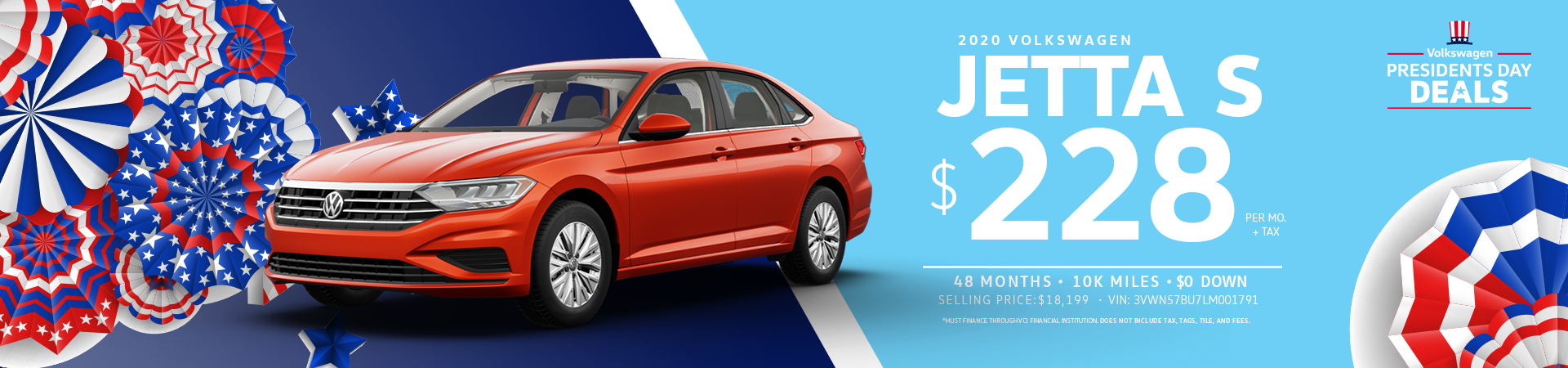 Lease a 2020 Jetta S for $228 a month