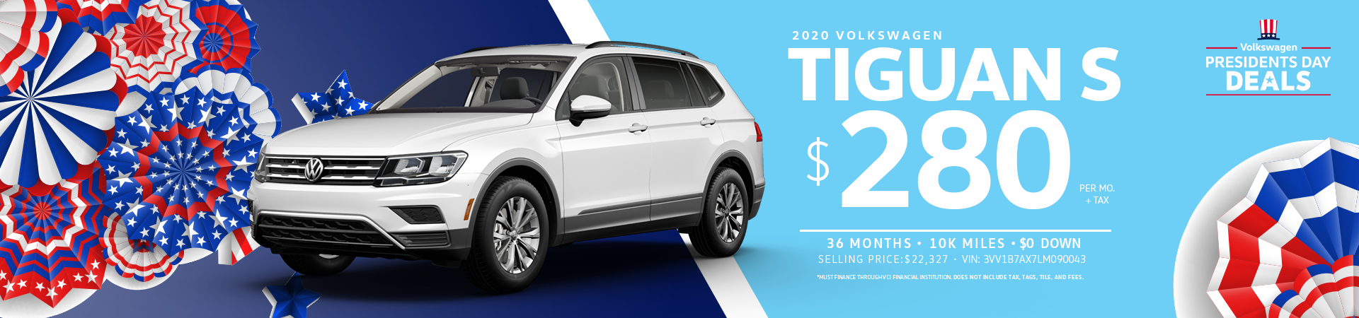 Lease a 2020 Tiguan S for $280 a month