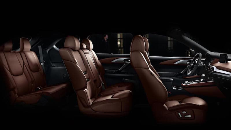 Side view of Mazda CX-9 interior three row seating