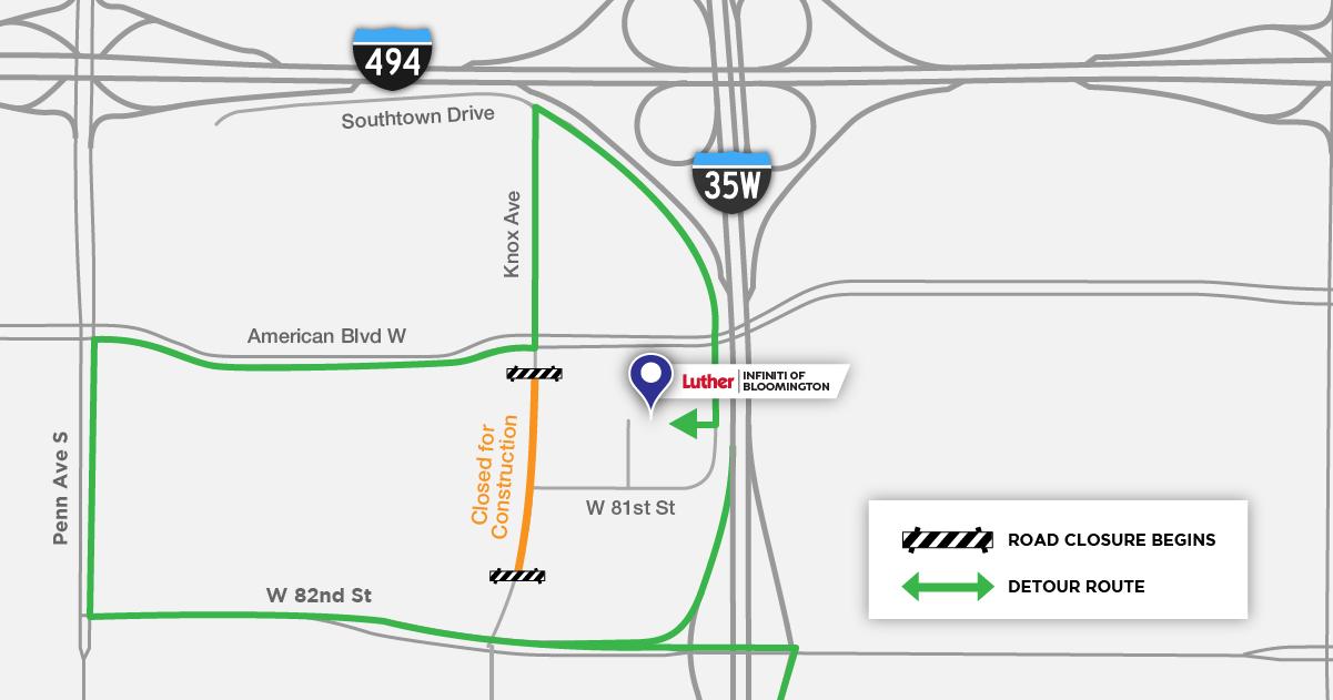 Detour Map - Bloomington INFINITI (1)