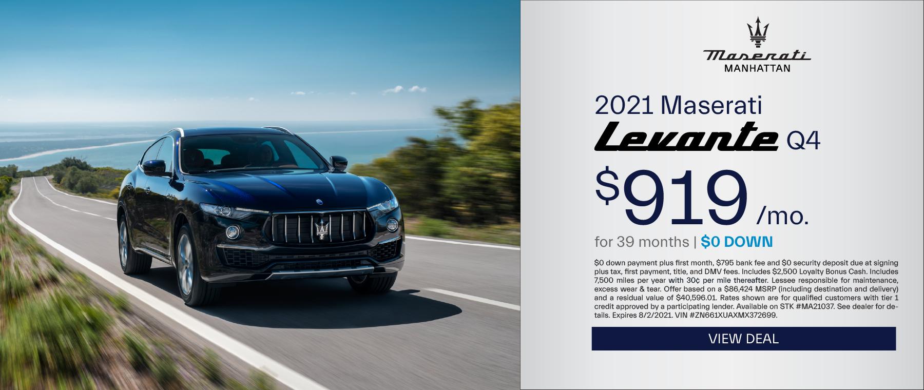 Maserati of Manhattan – 2021 Levante Q4 – July 2021