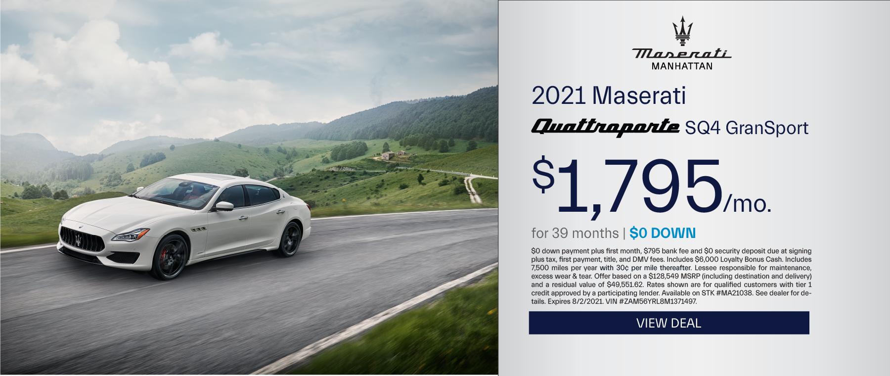 Maserati of Manhattan – 2020 Quattroporte – July 2021