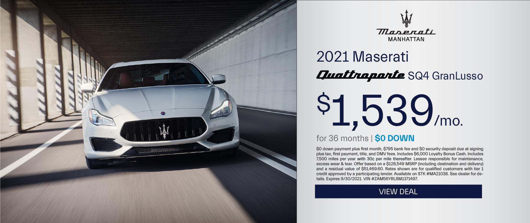 Maserati of Manhattan – 2020 Quattroporte – September 2021 – update