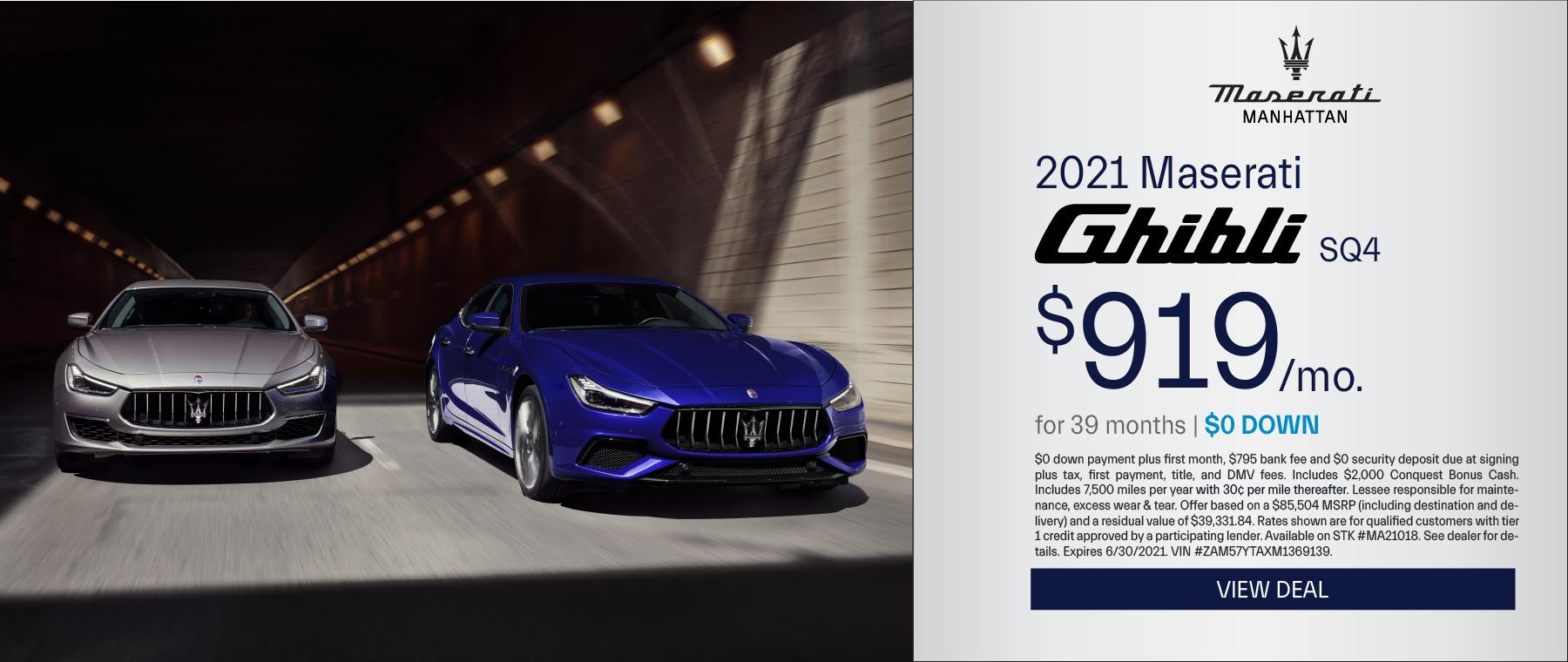 Maserati of Manhattan – 2021 Ghibli – June 2021