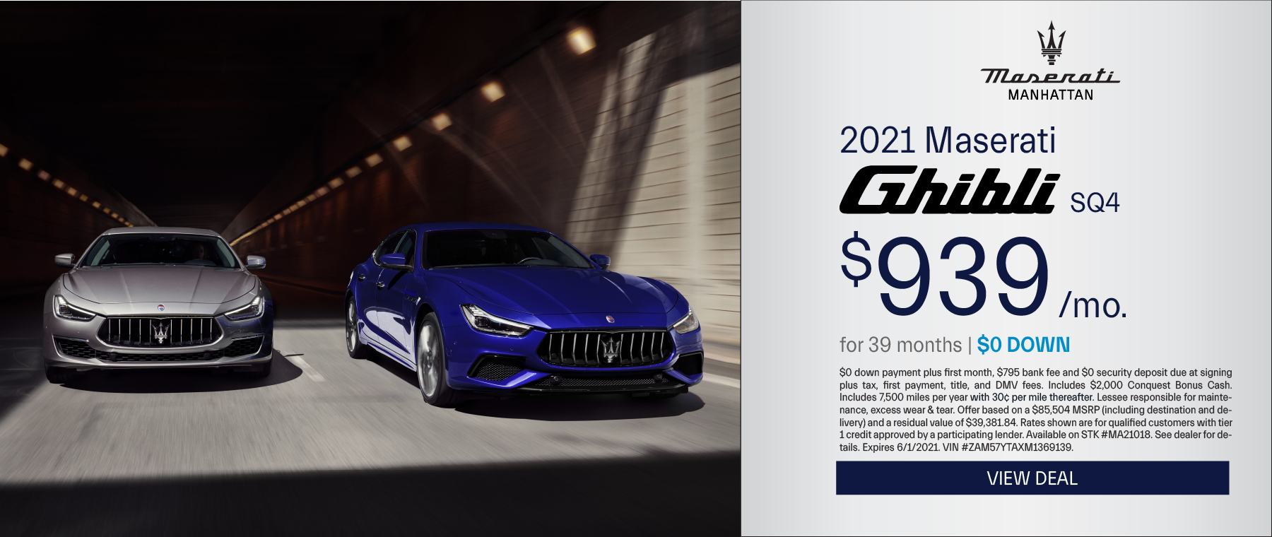 Maserati of Manhattan – 2021 Ghibli – May 2021
