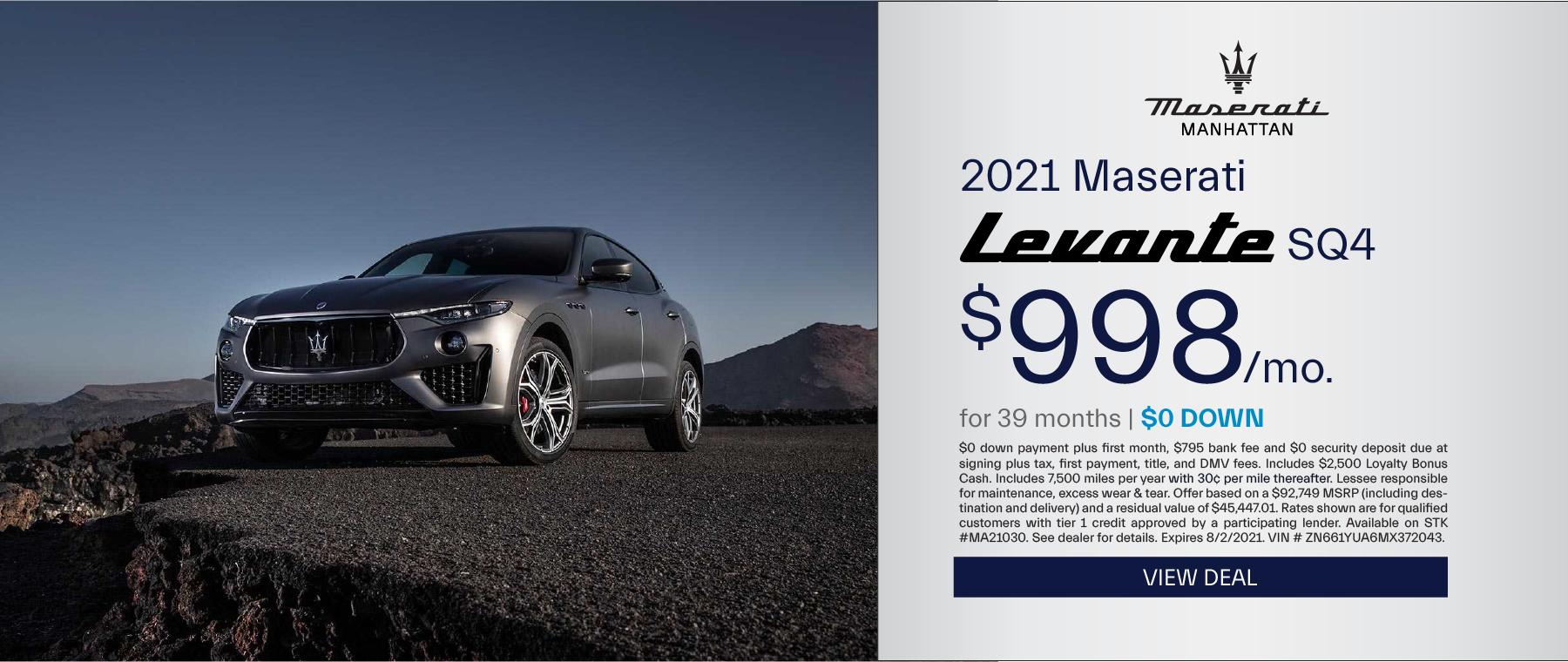 Maserati of Manhattan – 2021 Levante SQ4 – July 2021