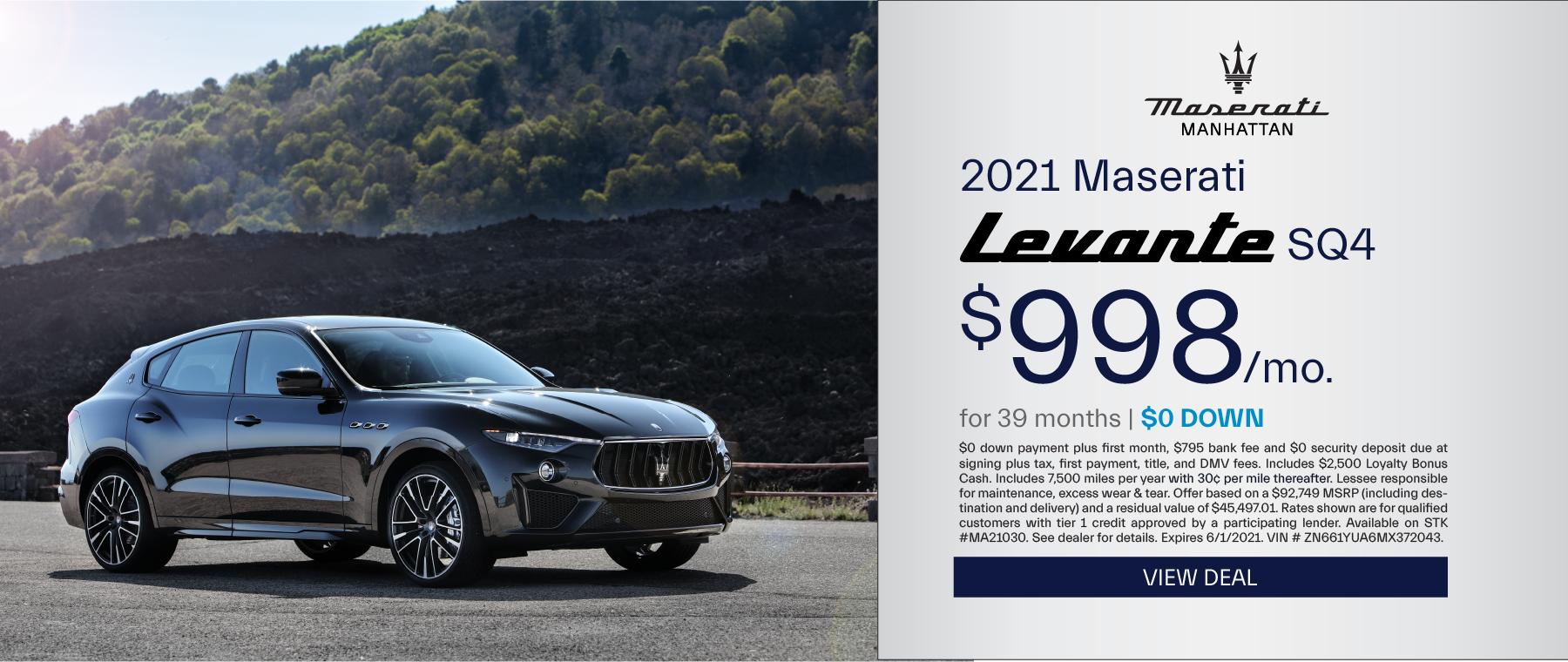 Maserati of Manhattan – 2021 Levante SQ4 – May 2021