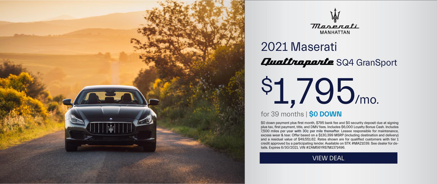 Maserati of Manhattan – 2021 Quattroporte – June 2021