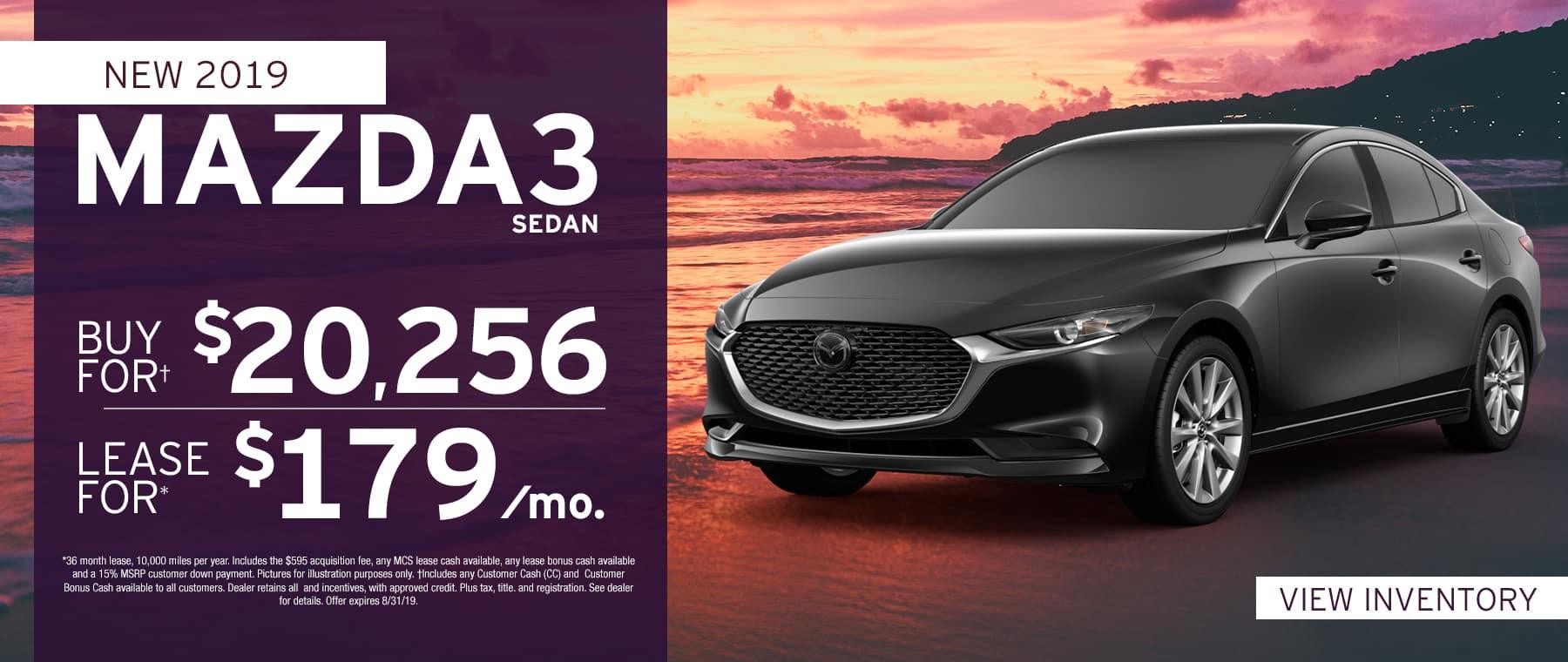 2019 Mazda3 Sedan$179 Per Month OR Buy For $20256
