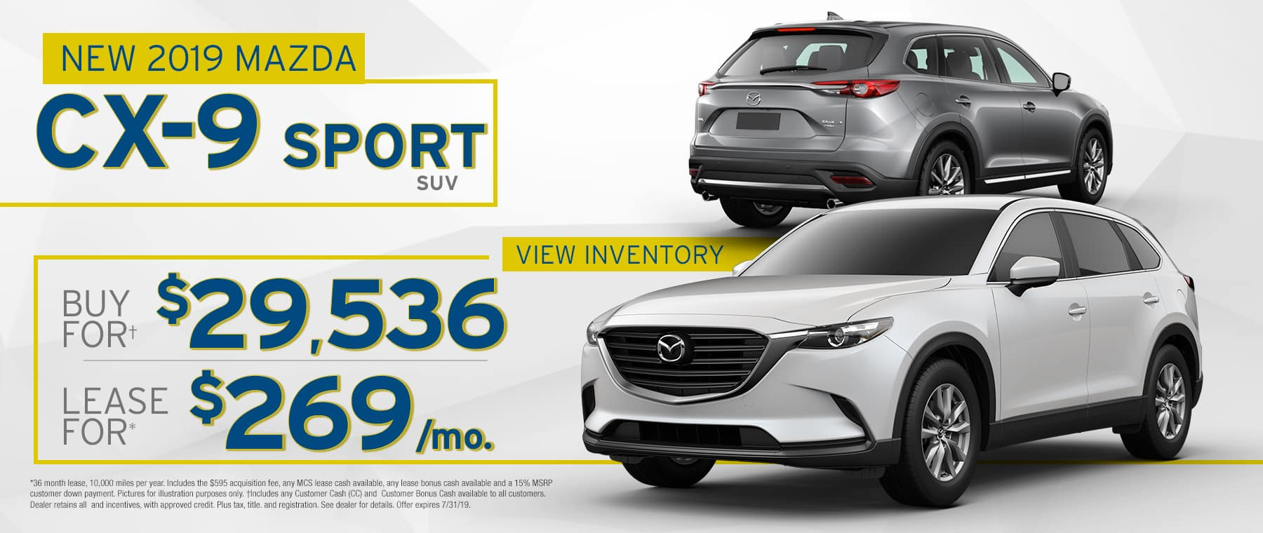 2019 CX-9 $269 Per Month OR Buy For $29536