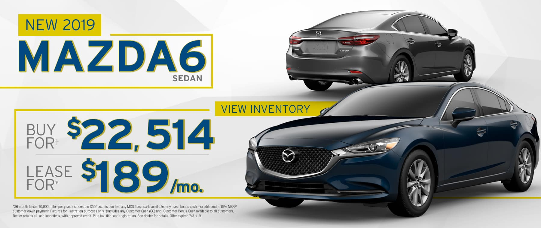 2019 Mazda6 $189 Per Month OR Buy For $22514