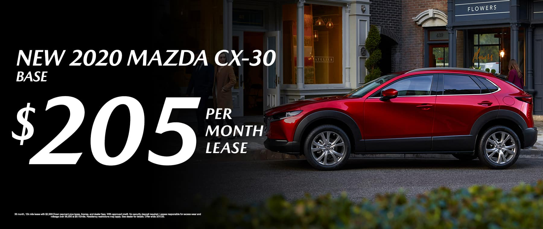 New 2020 Mazda CX-20 Base Lease for $205/mo.