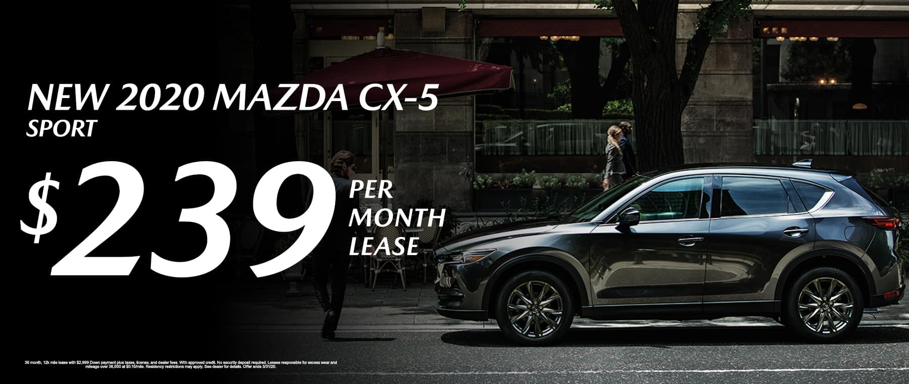 New 2020 Mazda CX-5 Sport Lease For $239/mo.