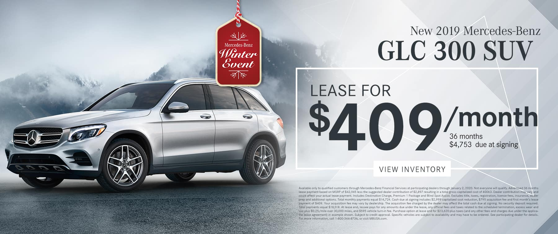 2019 GLC 300 LEASE FOR $409/MO.