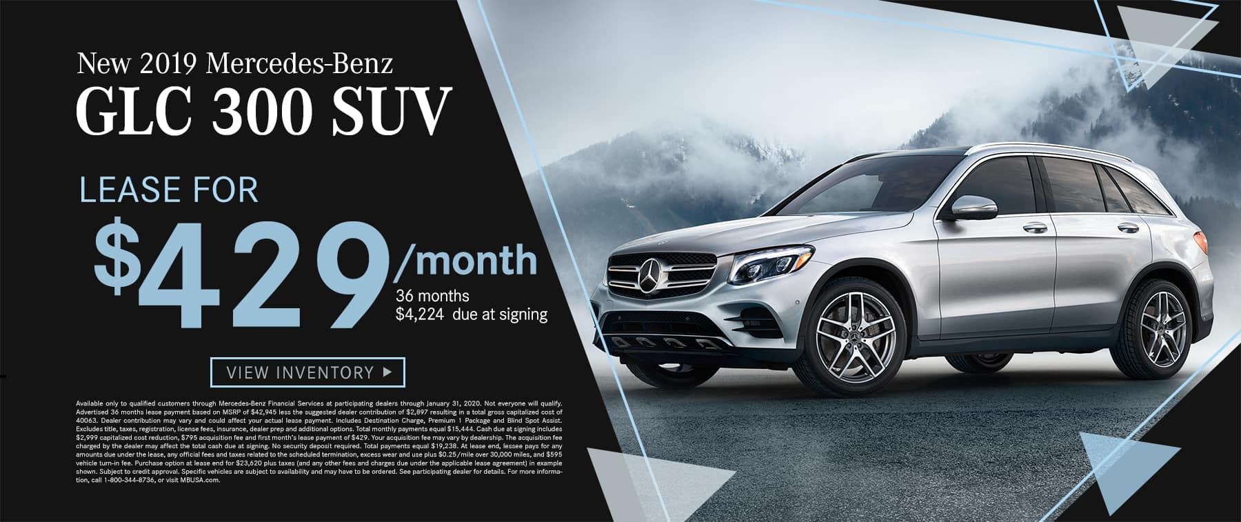 2019 GLC 300 SUV $409 Per Month 36 Months/10k Miles $4573 Due at signing
