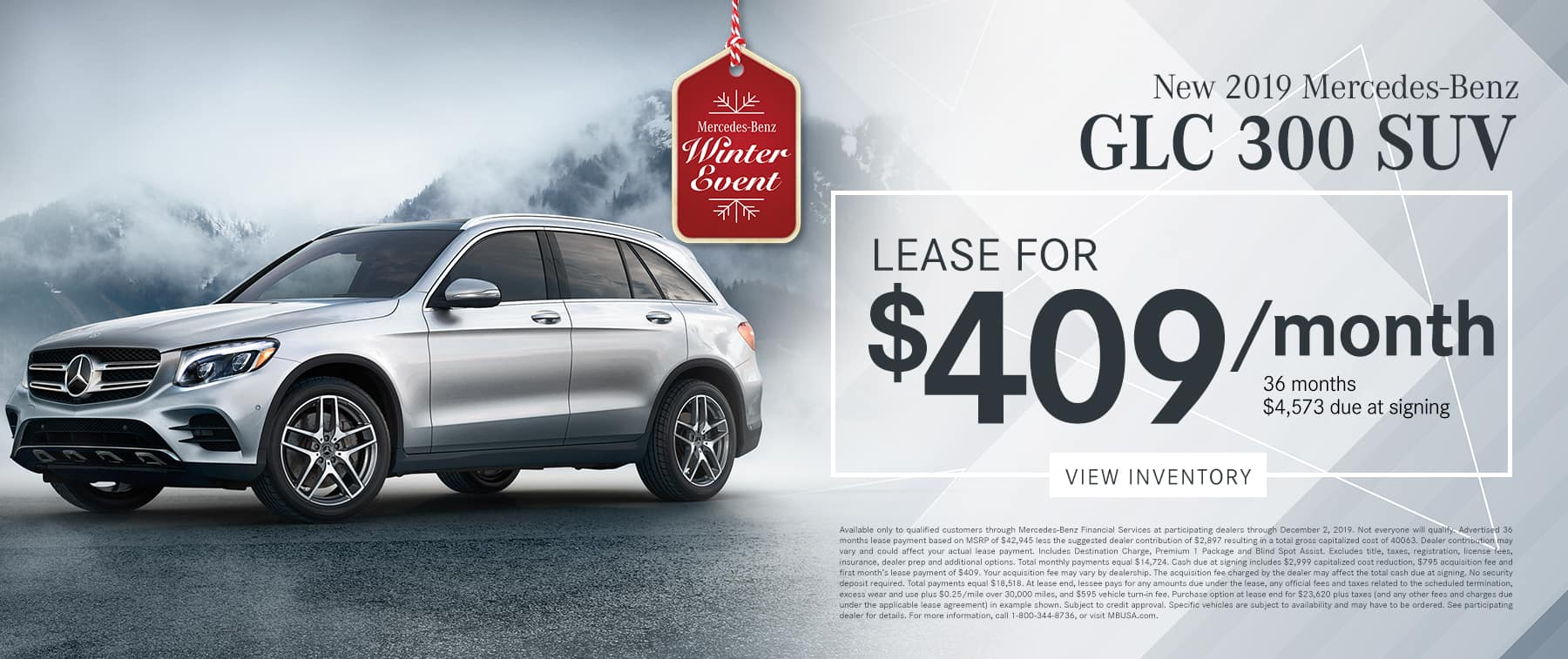 2019 GLC 300 LEASE FOR $409/MO.