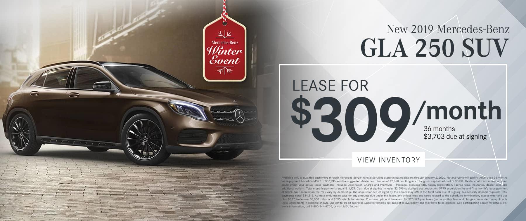 2019 GLA 250 SUV LEASE FOR $309/MO.