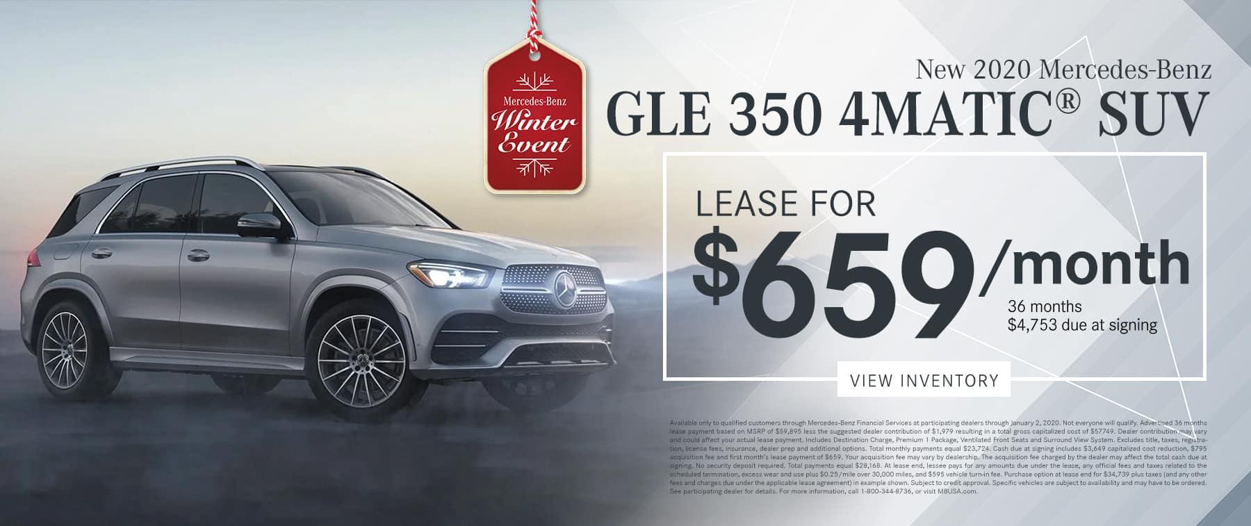 2020 GLE 350 4MATIC® SUV LEASE FOR $659/MO.