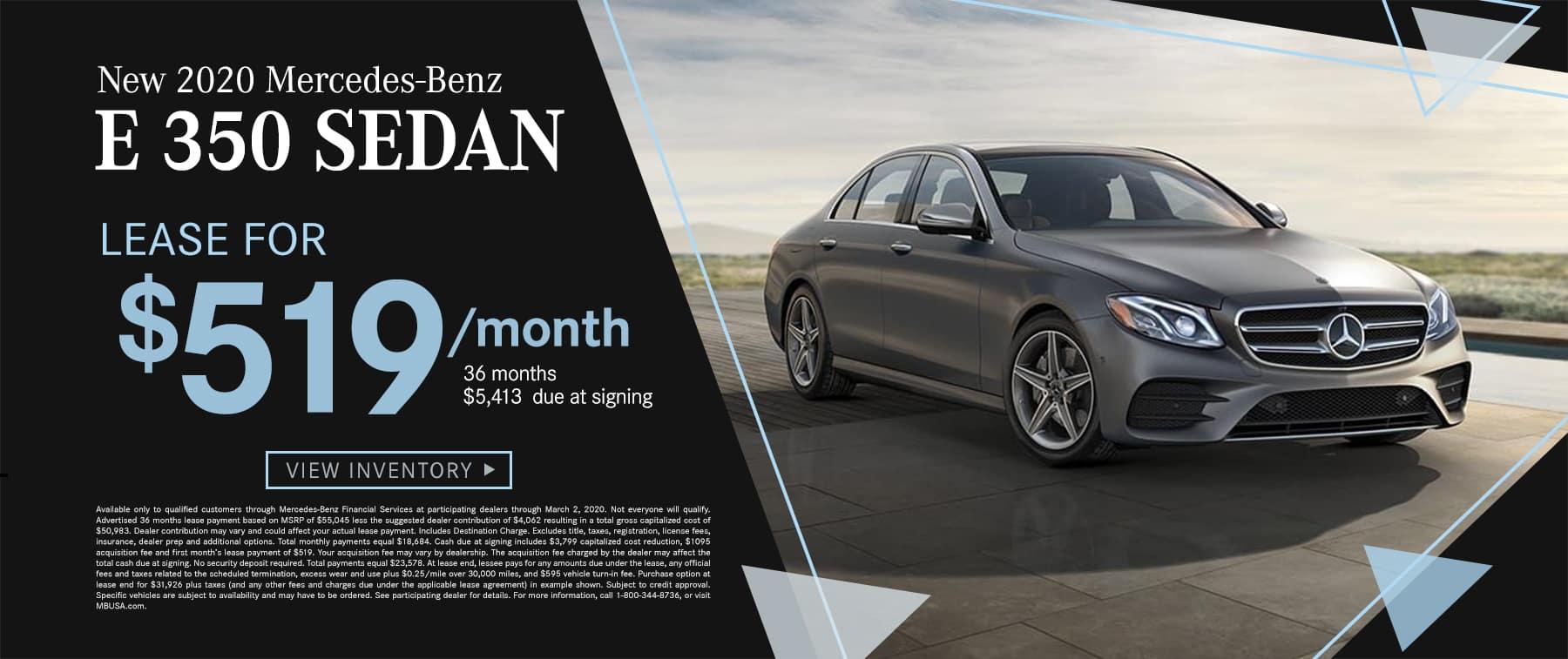 2020 E 350 Sedan $519 Per Month