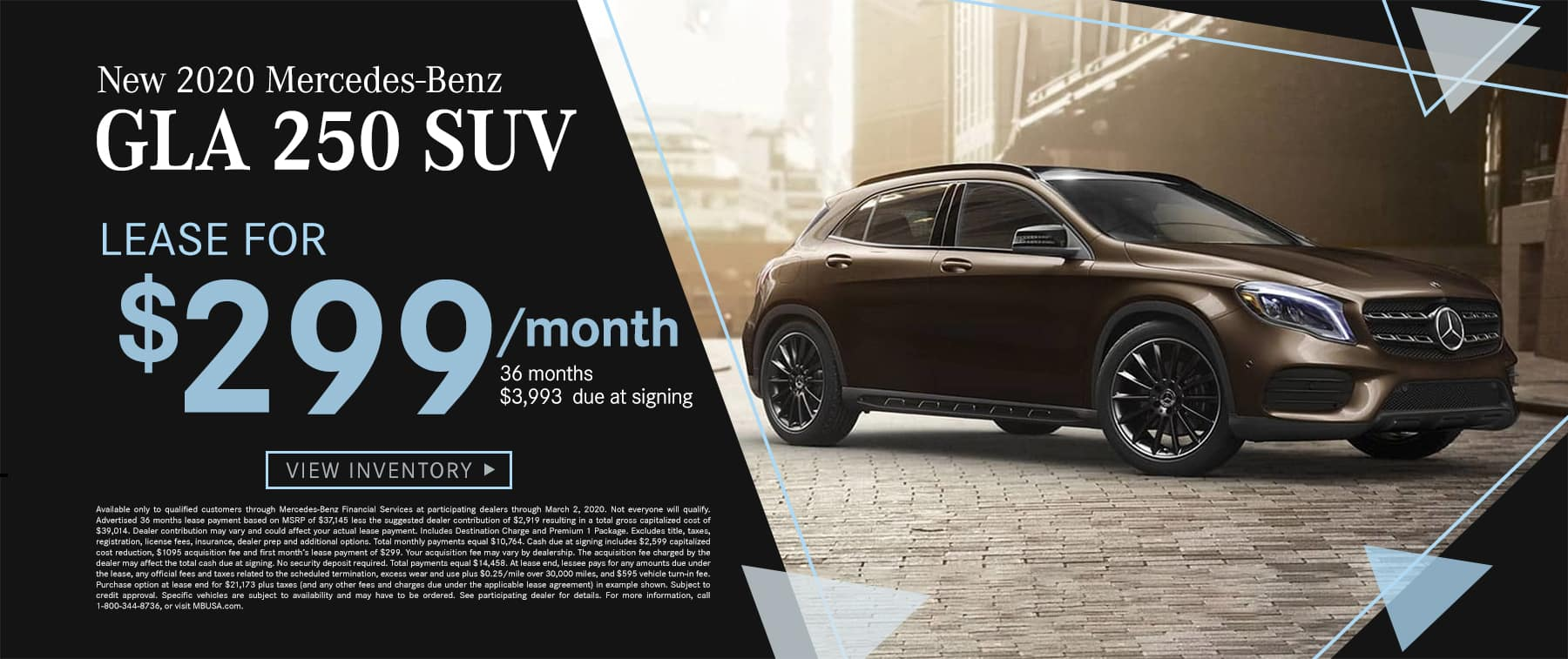 2020 GLA 250 SUV $299 Per Month