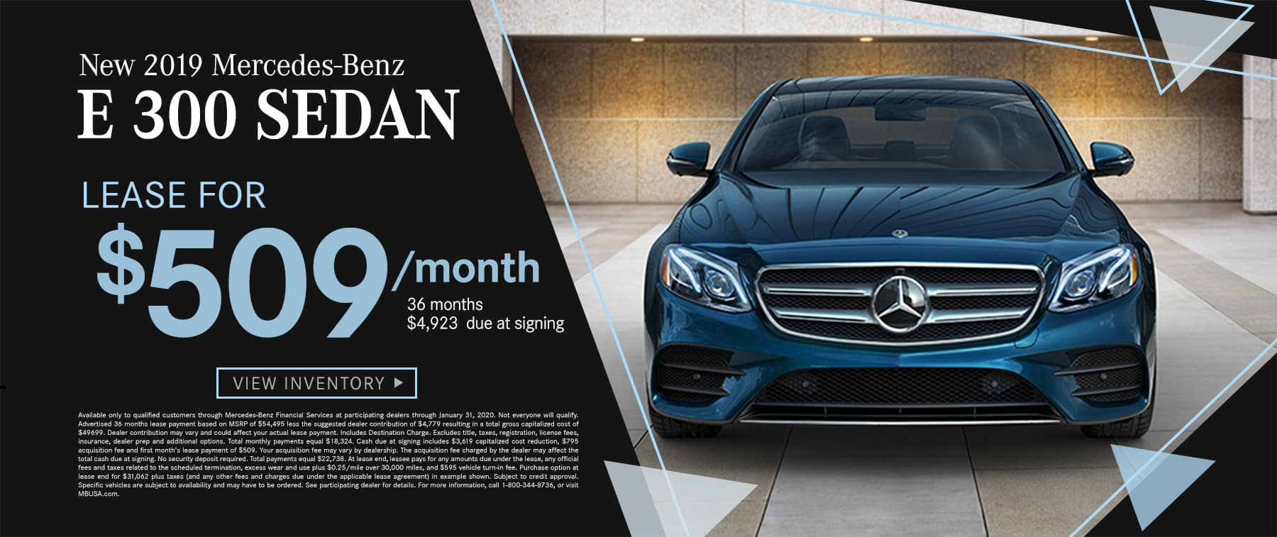2019 E 300 Sedan $519 Per Month 36 Months/10k Miles $4933 Due at signing