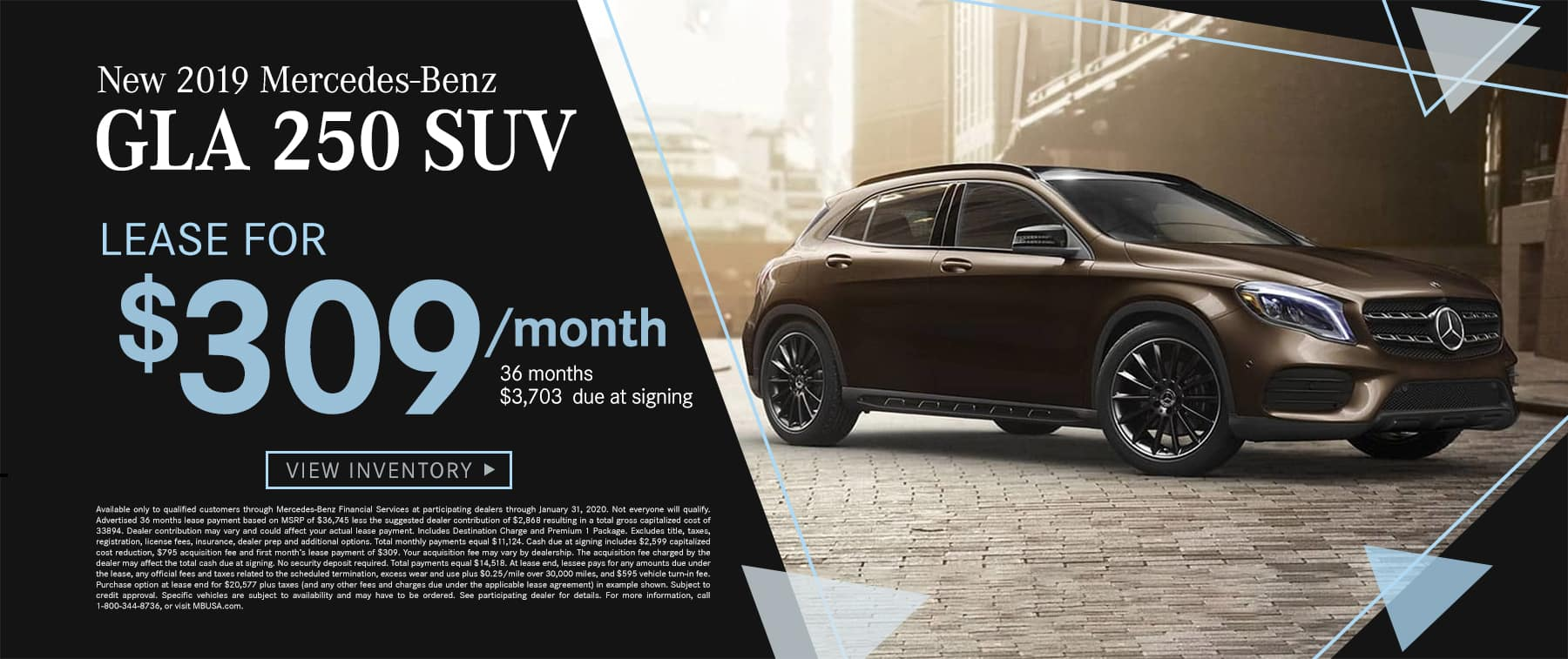 2019 GLA 250 SUV $309 Per Month 36 Months/10k Miles $3703 Due at signing