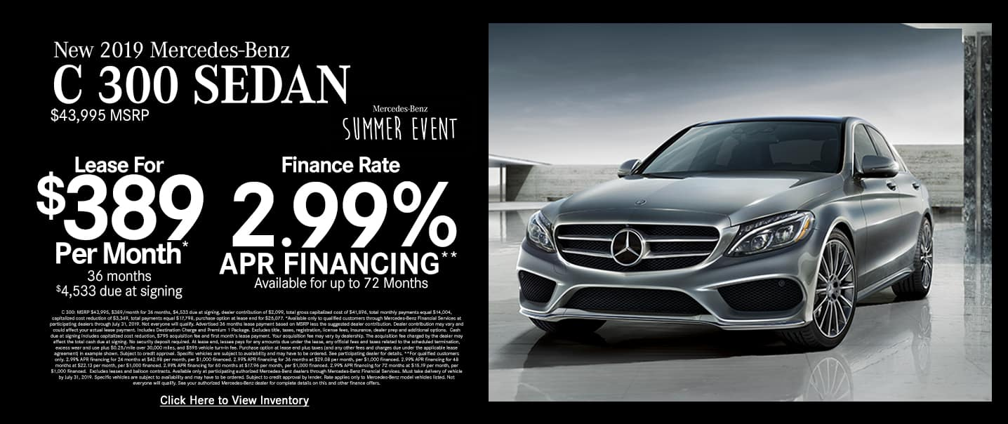 2019 C 300 LEASE FOR $389/MO. | 2.99% APR
