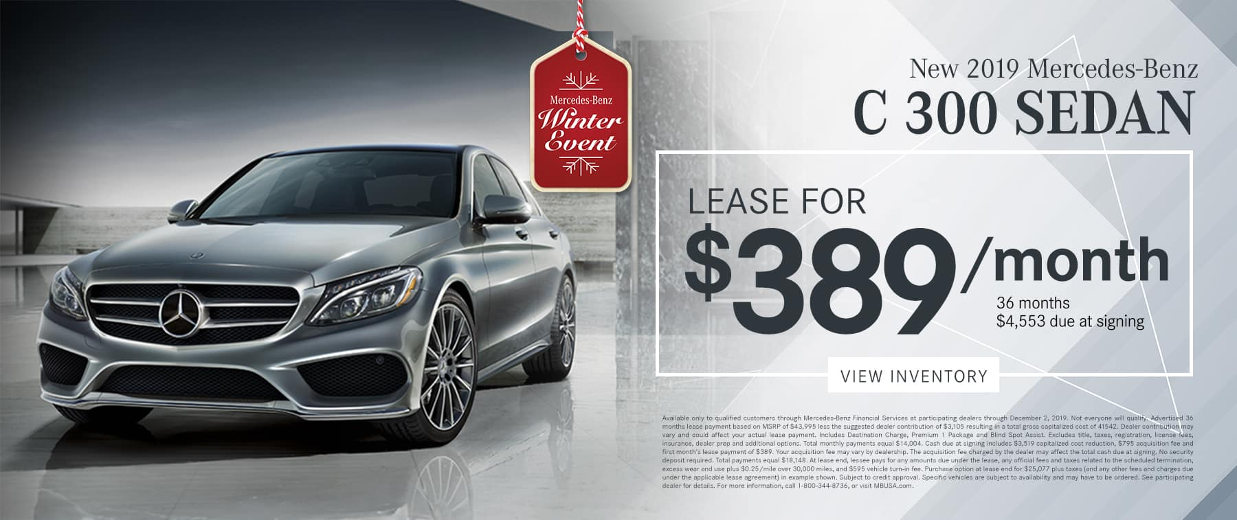 2019 C 300 LEASE FOR $389/MO.