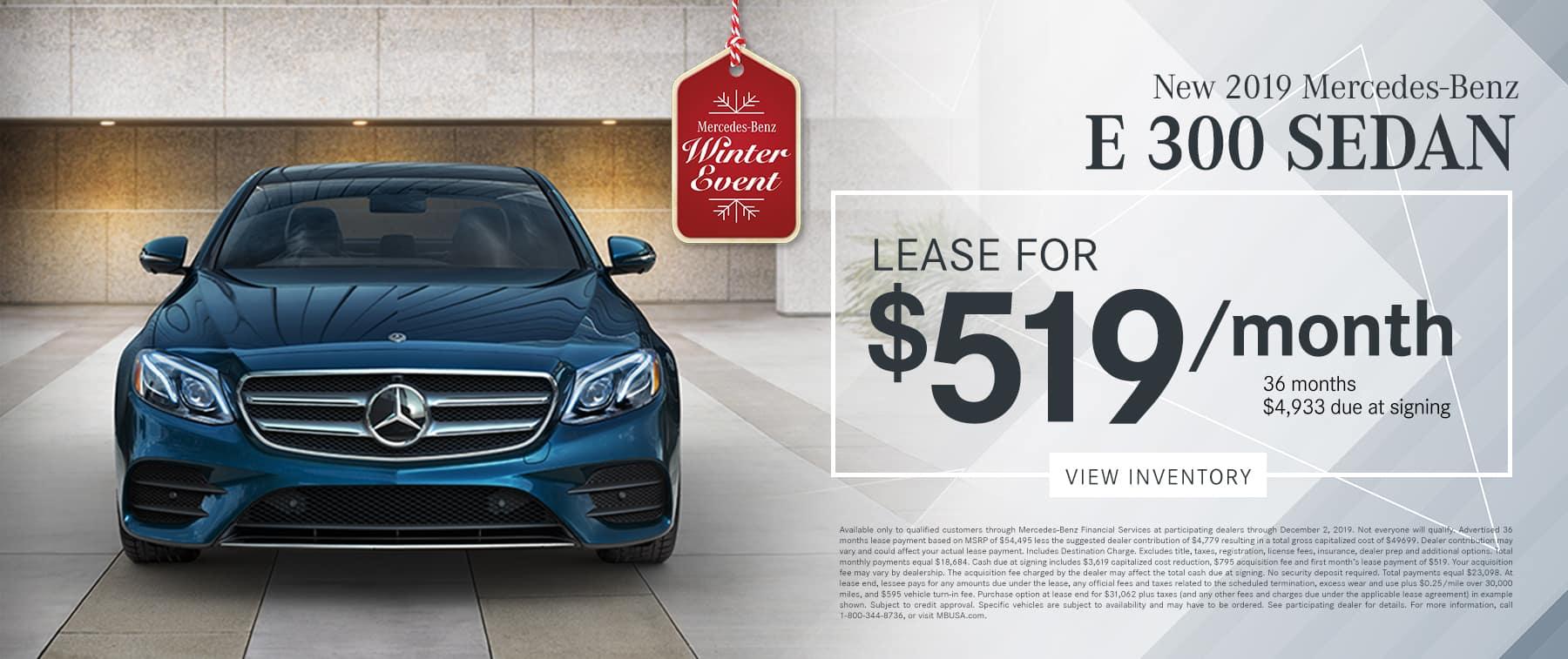 2019 E 300 LEASE FOR $519/MO.