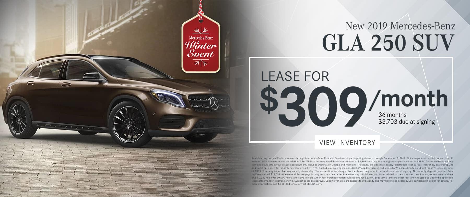 2019 GLA 250 SUV LEASE FOR $319/MO.
