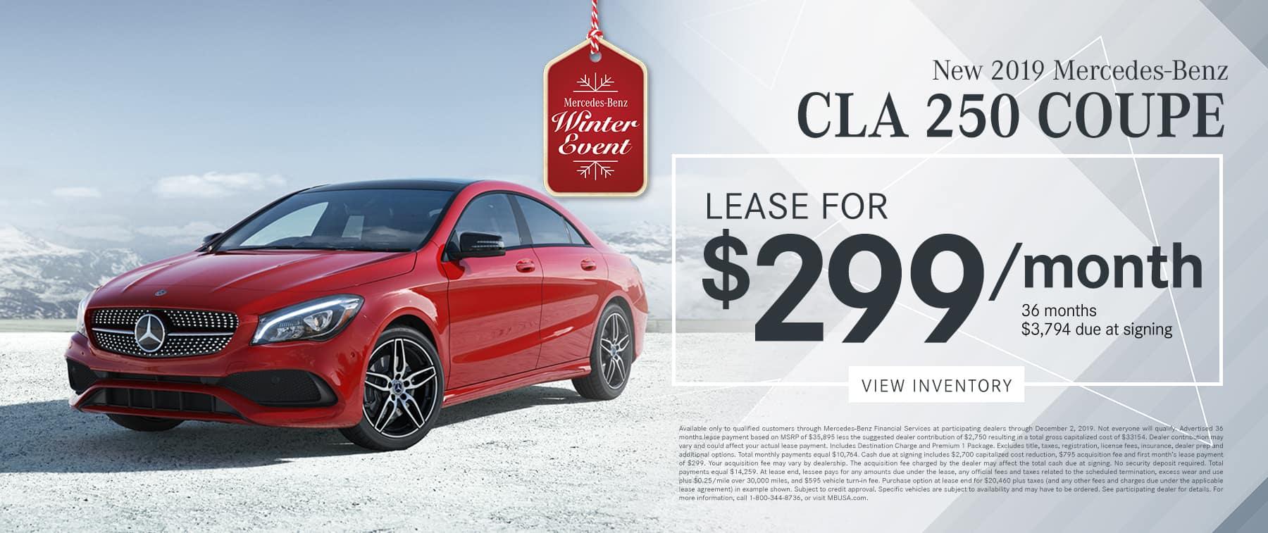 2019 CLA 250 LEASE FOR $299/MO.