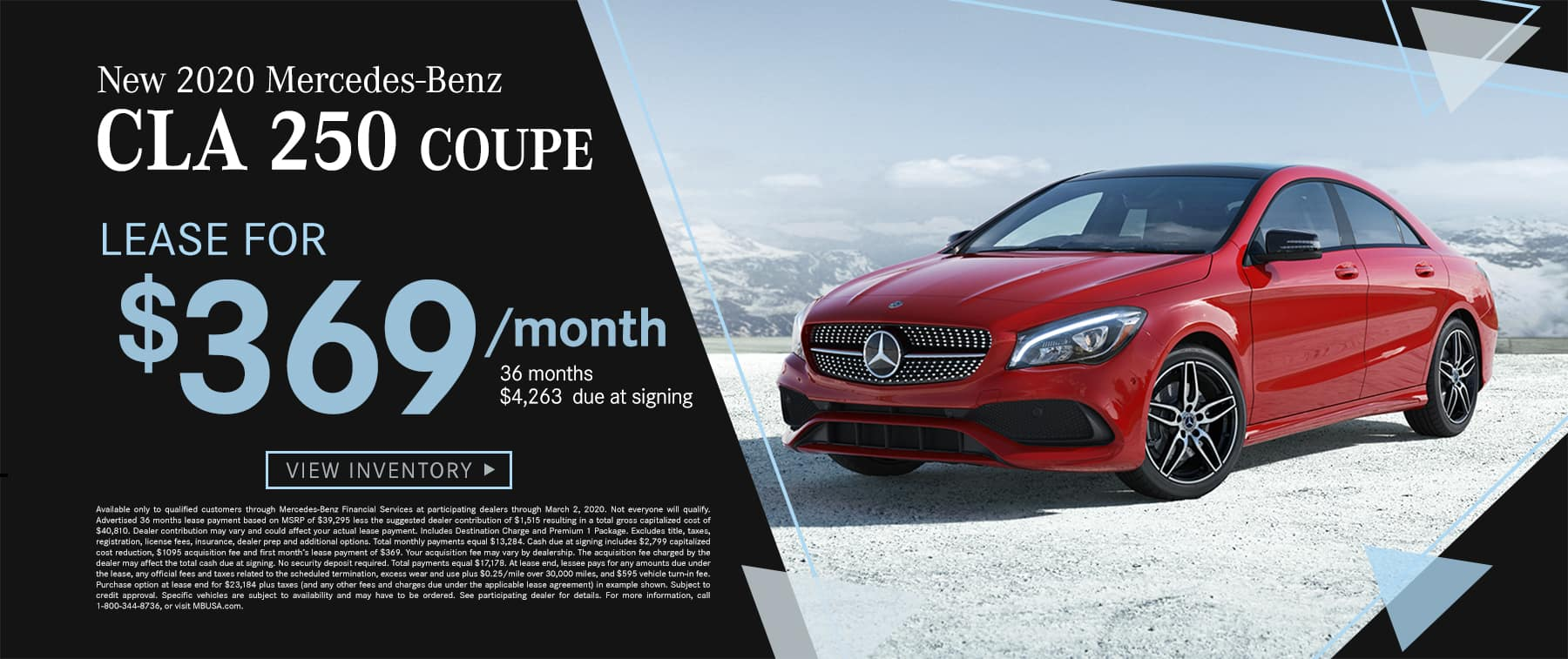 2020 CLA 250 Coupe$269 Per Month 36 Months