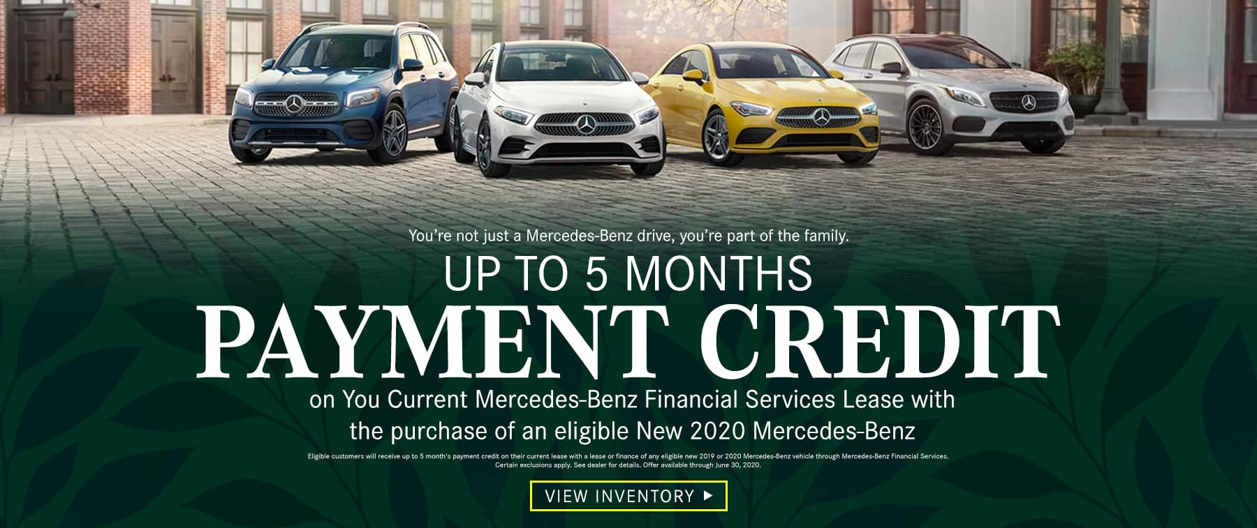Up to 5 Months Payment Credit on You Current Mercedes-Benz Financial Services Lease with the purchase of an eligible New 2020 Mercedes-Benz