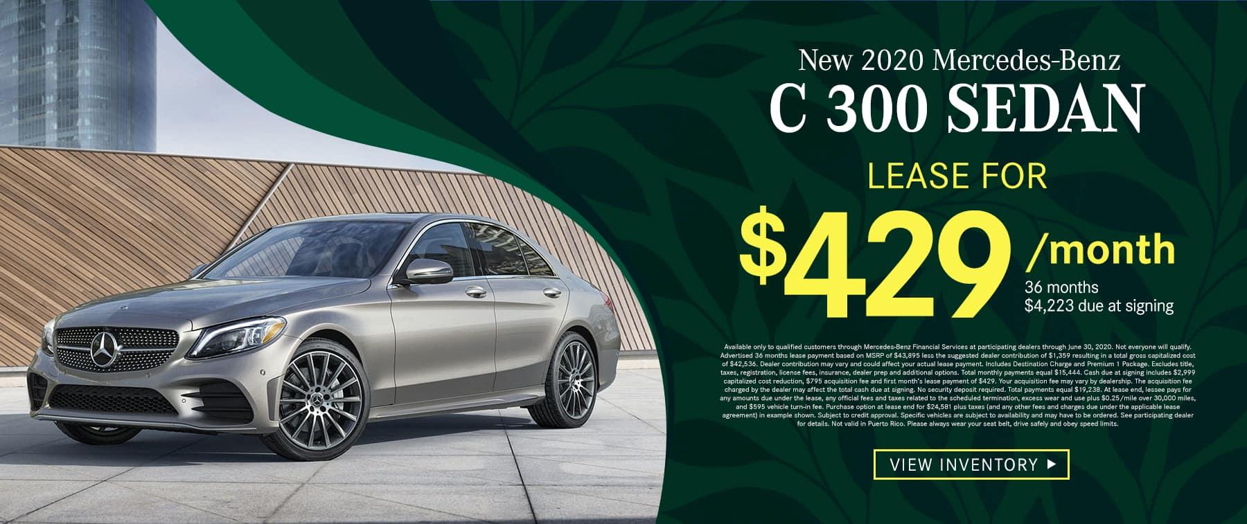 2020 C 300 Sedan $419 Per Month 36 Months/10k Miles $4213 Due at signing