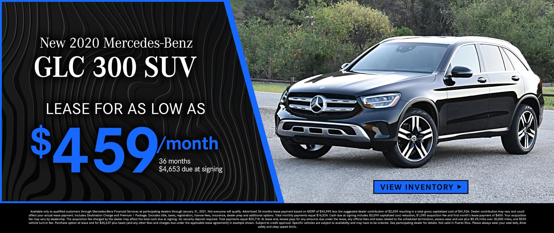 2020 GLC 300 SUV Lease as low as $459 Per Month 36 Months/10k Miles $4,653 Due at signing
