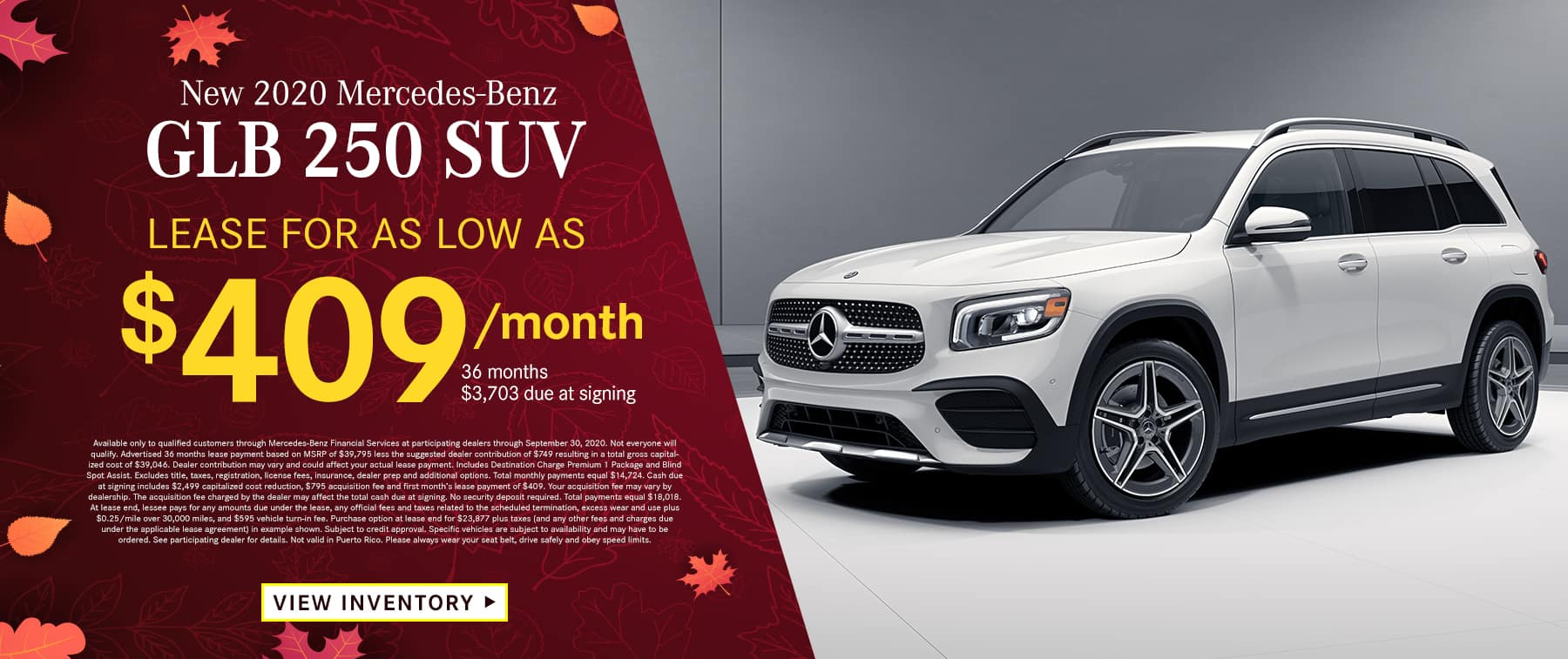 2020 GLB 250 SUV Lease as low as $399 Per Month 36 Months/10k Miles $3,693 Due at signing