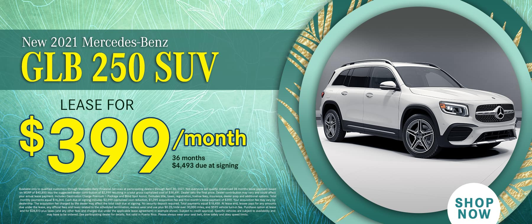 2021 GLB 250 suv lease for $399