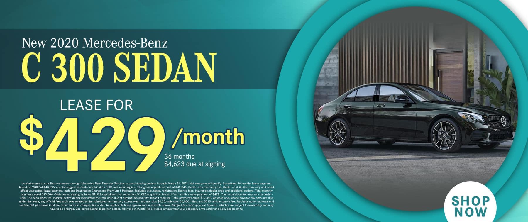 2020 Mercedes-Benz C 300 Sedan $429 PER MONTH / 36 MONTHS /10K MILES $4,523 DAS