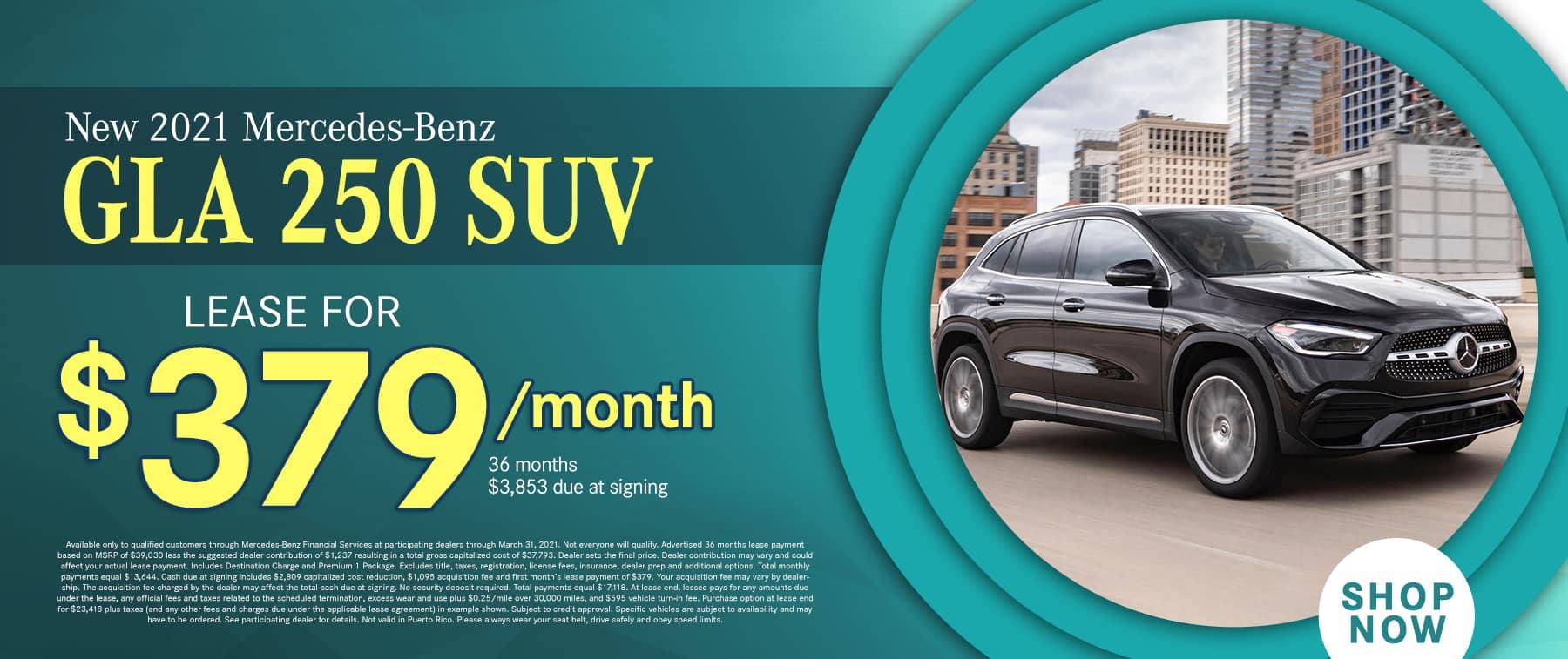 2021 Mercedes-Benz GLA 250 SUV $379 PER MONTH/ 36 MONTHS/10K MILES $3,853 DAS