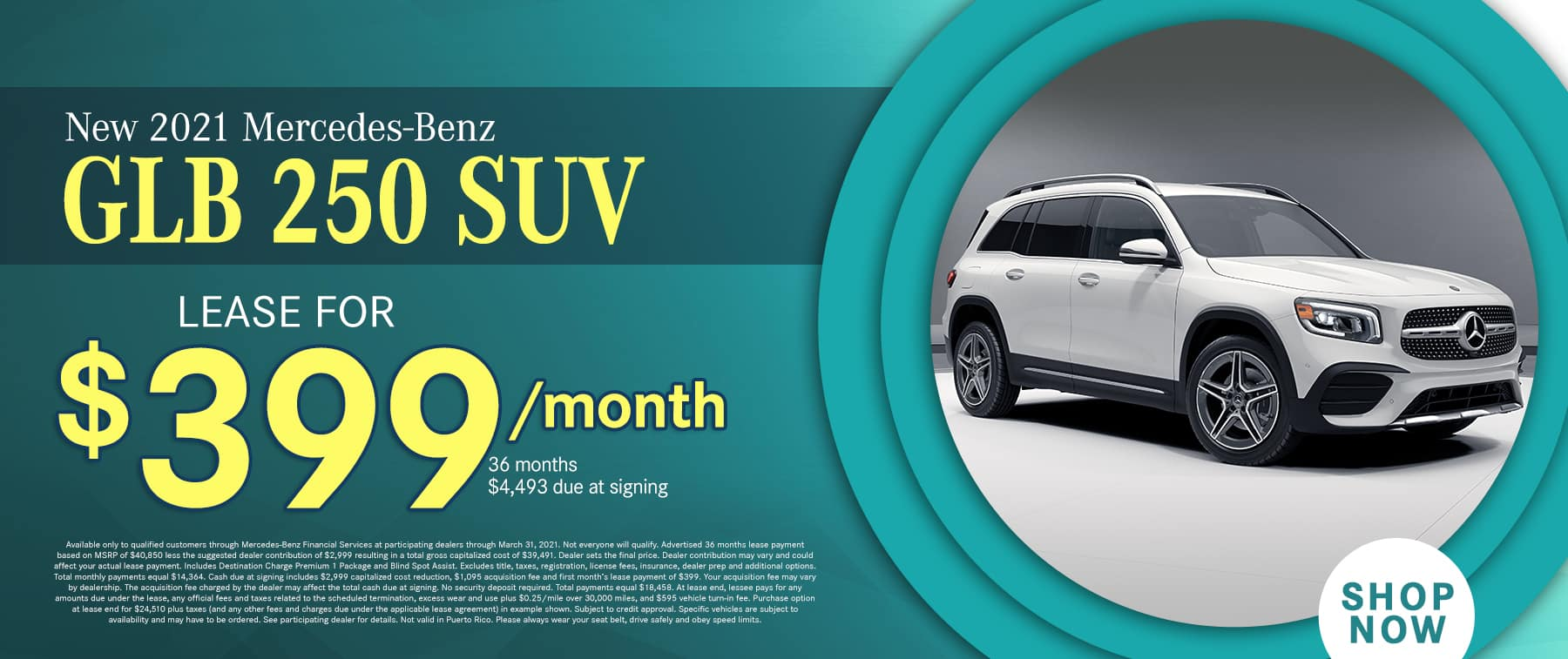 2021 Mercedes-Benz GLB 250 SUV $399 PER MONTH/36 MONTHS/10K MILES $4,493 DAS