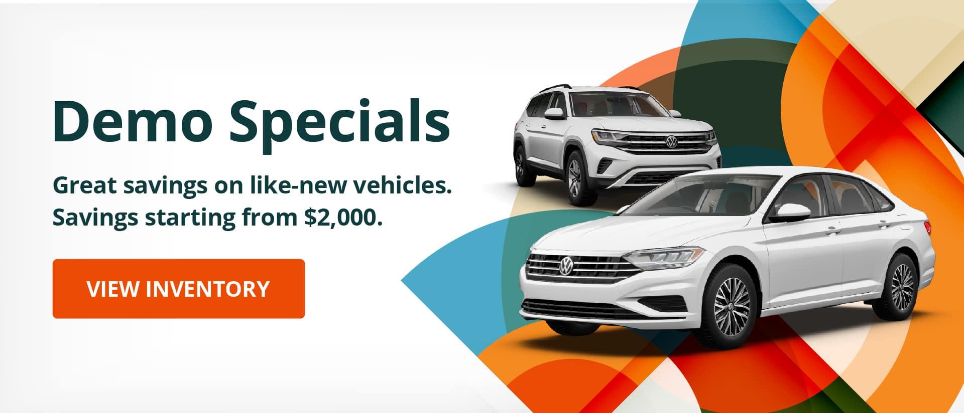 Volkswagen demo specials desktop banner