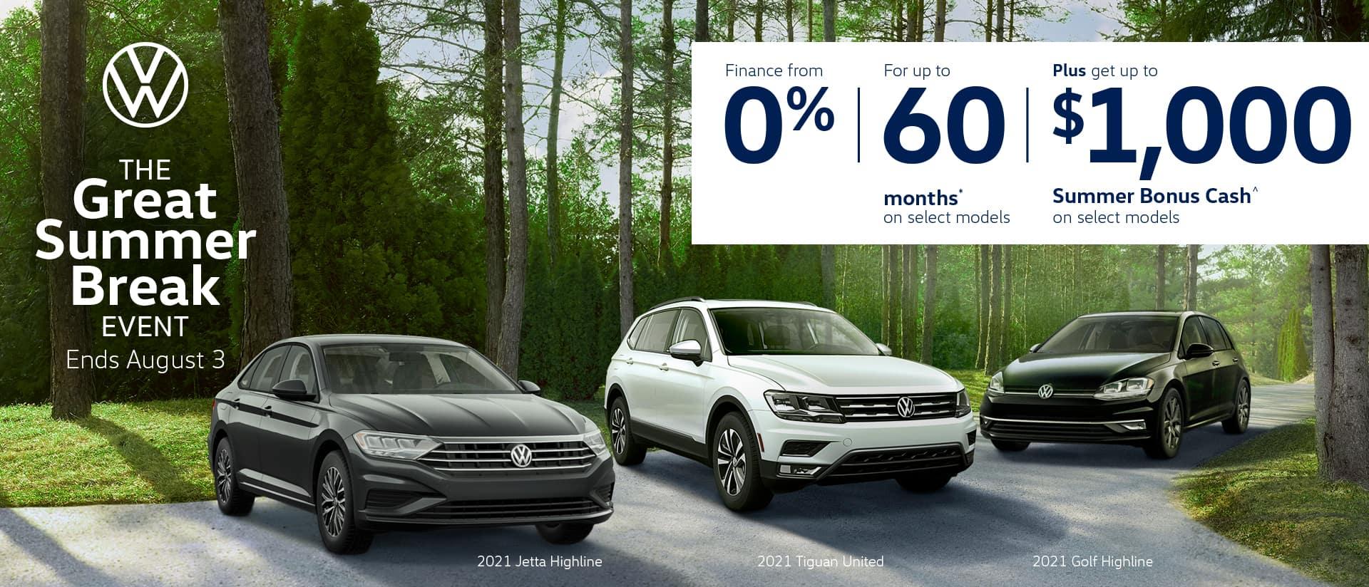 Volkswagen Great Summer Break Sale desktop banner