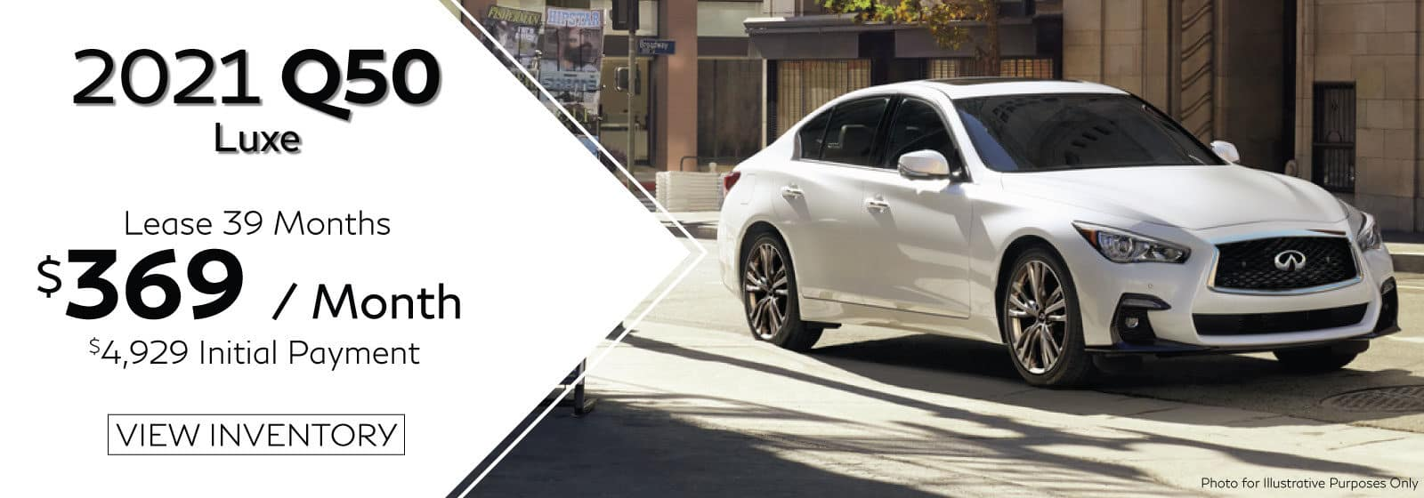 Well-qualified lessees lease a new 2021 Q50 LUXE in retailer stock for $369/Month for 39 months. $4,929 initial payment excludes taxes, title, and license. $4,929 due at lease signing (includes down payment). Offer valid only when financed through INFINITI Financial Services. Subject to residency restrictions. $42,825 MSRP includes destination and handling charge. Net capitalized cost of $34,266 includes a $700 non-refundable acquisition fee. Retailer contribution may affect actual price set by retailer. Monthly payments total $14,391 at lease end, purchase for $22,697, plus purchase option fee up to $300 (except KS & WI), plus tax, or pay excess wear & use plus $0.25 per mile for mileage over 10,000 miles per year. Disposition fee due at lease end. No security deposit required. Must take delivery from new retailer stock. Ends 07/06/2021. Example VIN JN1EV7BP0MM700743