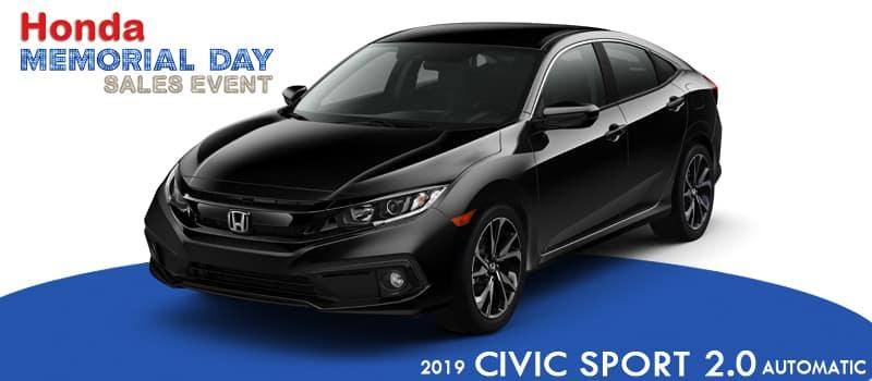 New 2019 Honda Civic Sport FWD 4D Sedan